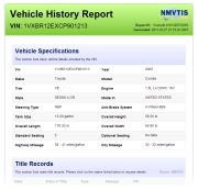 Sample report (compare to Carfax report)